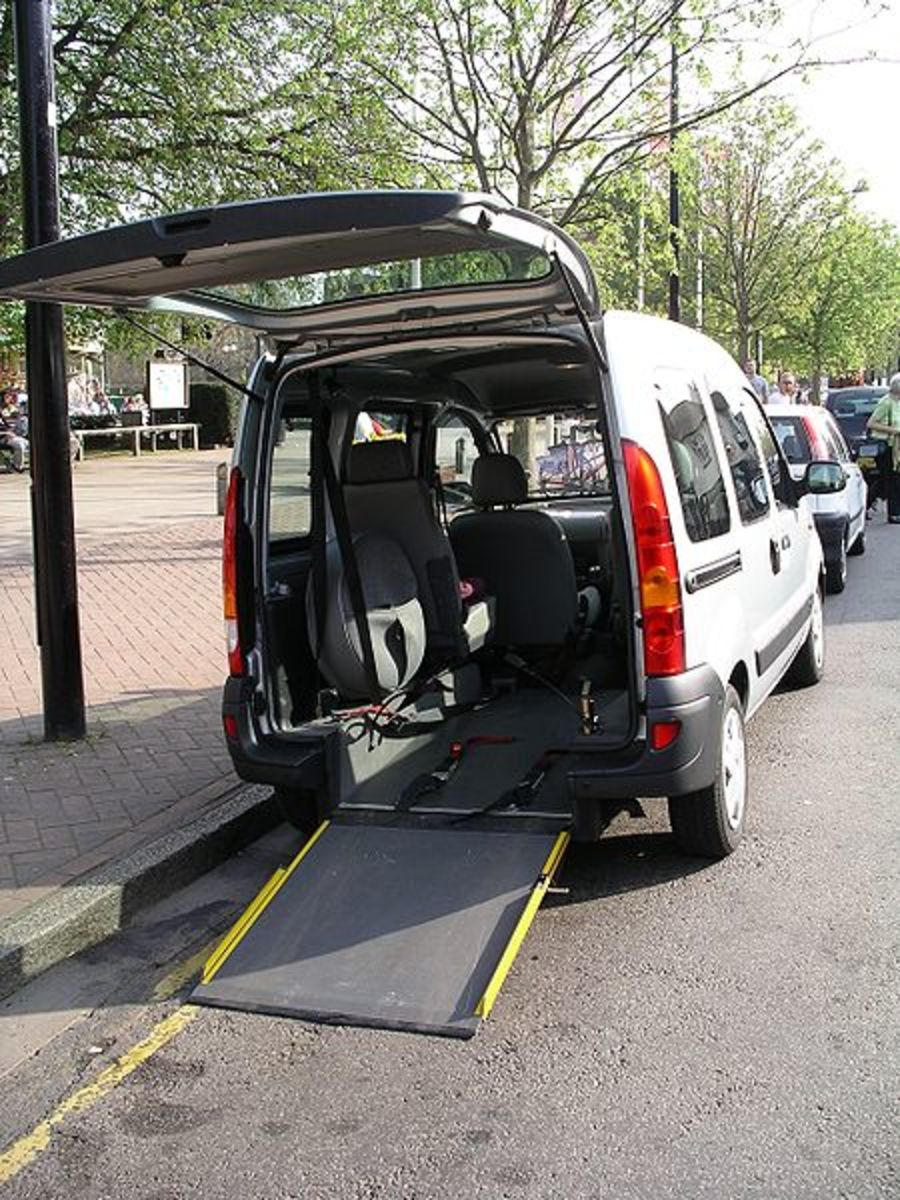 Vehicle with wheelchair ramp.
