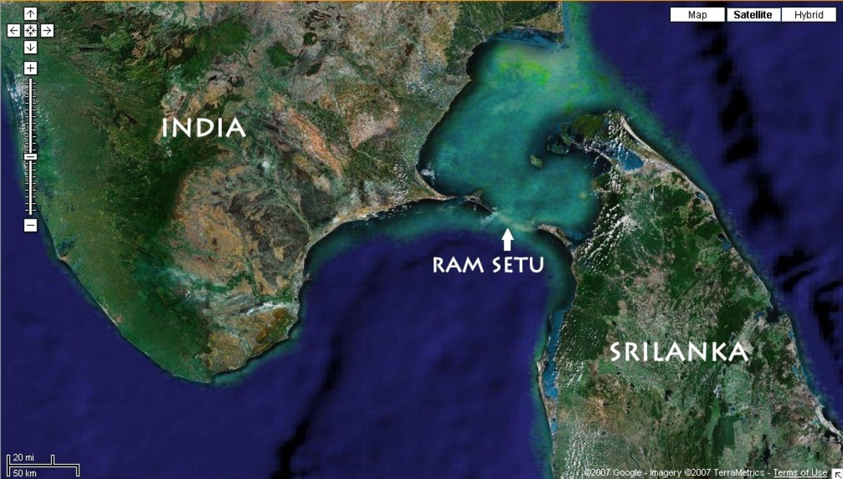 Satellite Image Of The Ram Setu (Bridge Built By Lord Ram).