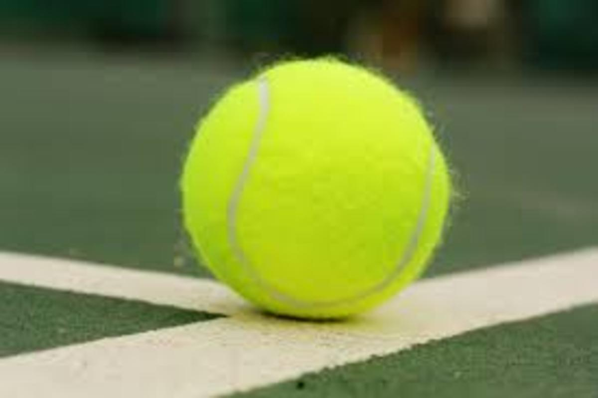 Tennis ball in tennis court
