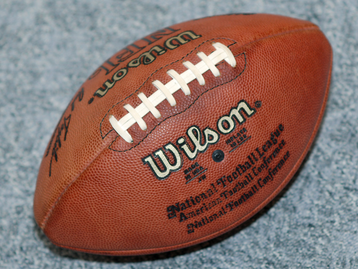 America Football: note the white lacing which is not present in rugby ball