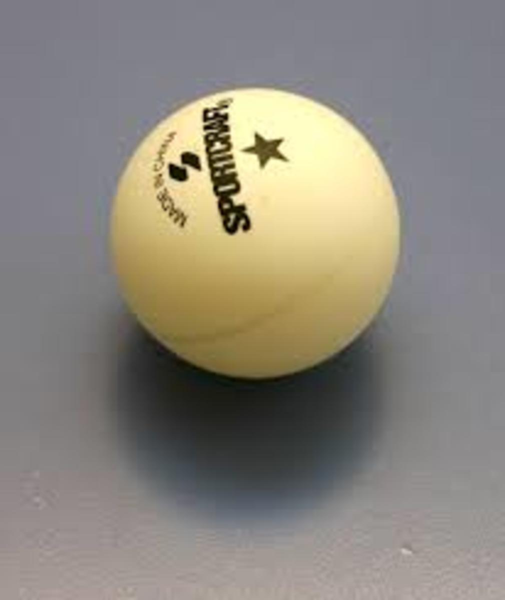 Table tennis ball also known as ping pong ball