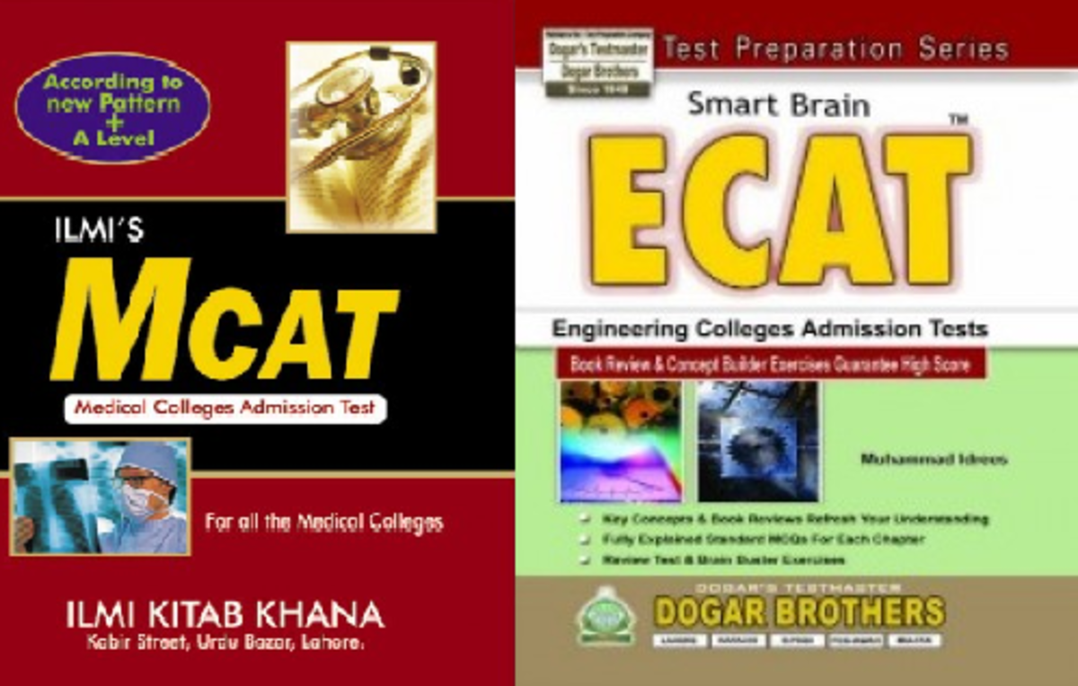 Recommended textbooks for ECAT and MCAT preparation.