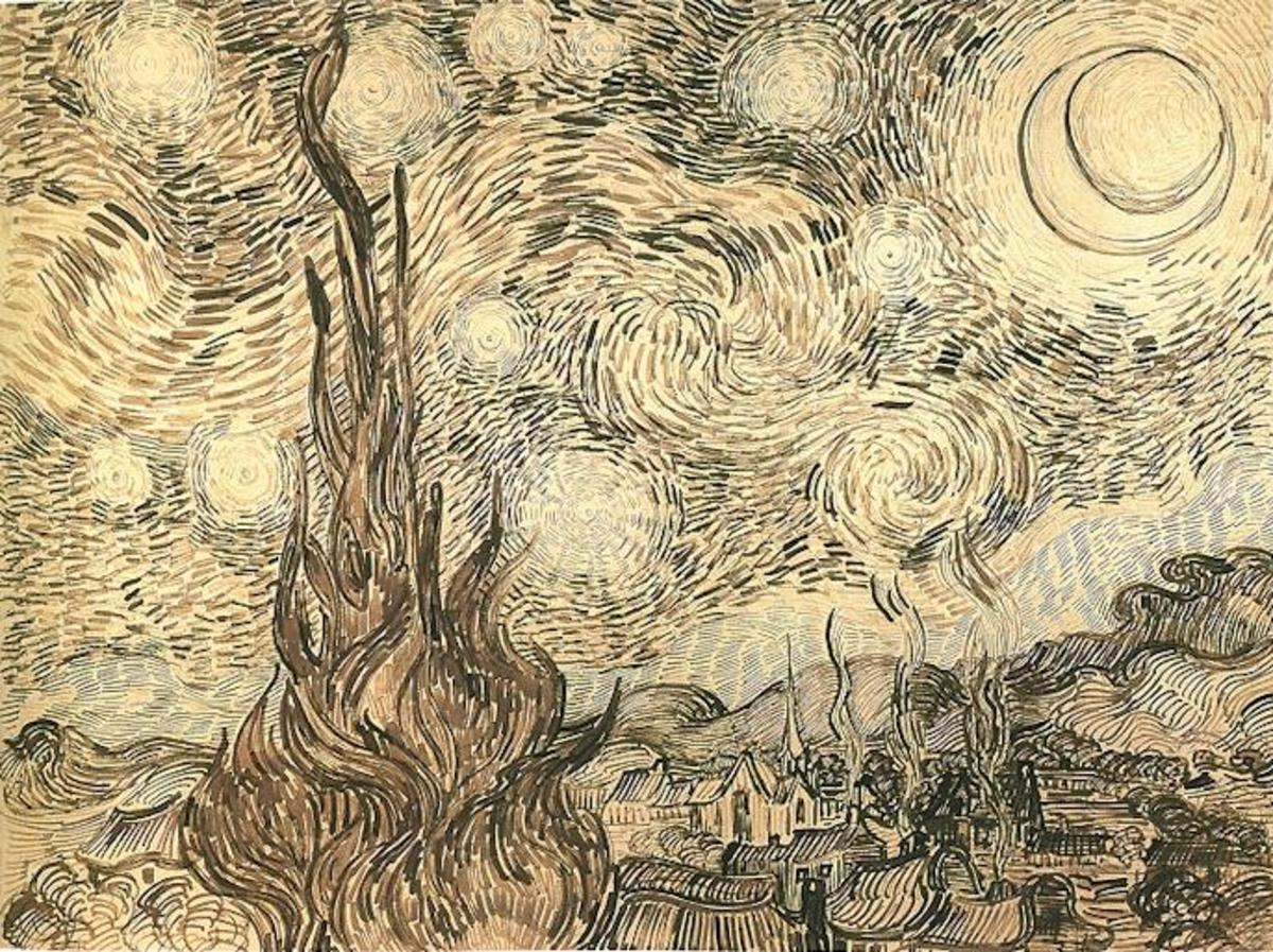 "A drawing Van Gogh completed after his painting ""The Starry Night"""