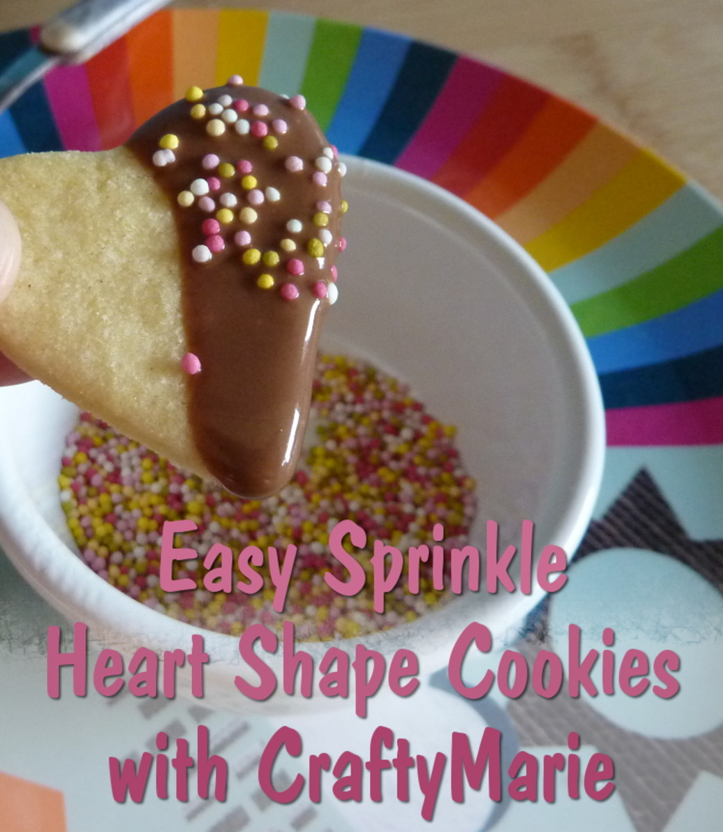 Easy to make sugar heart cookies dipped in chocolate with sprinkles