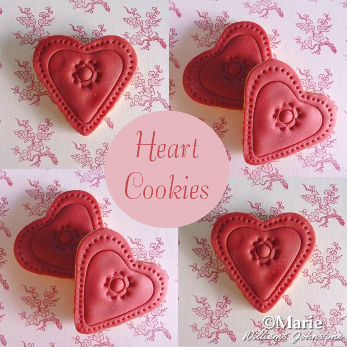Make red heart fondant cookies