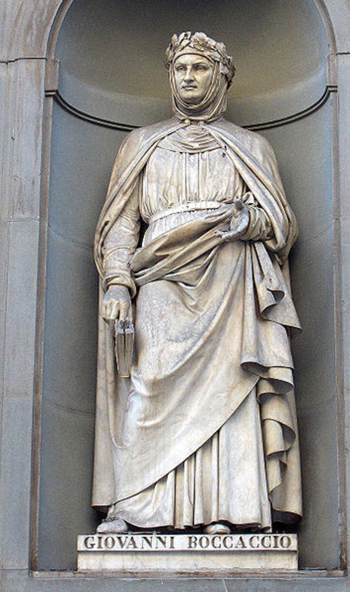 Statue of Boccaccio on the facade of the Uffizi Gallery in Florence, Italy.