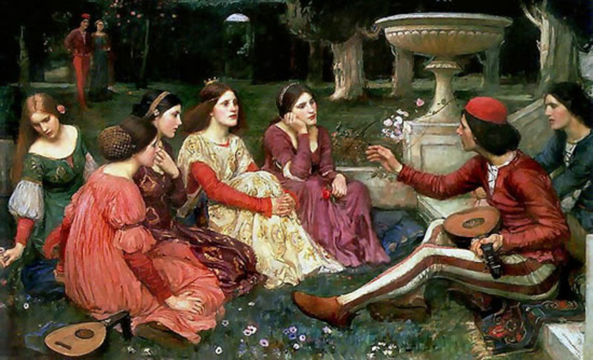 "A tale from ""The Decameron"" painted by John William Waterhouse"
