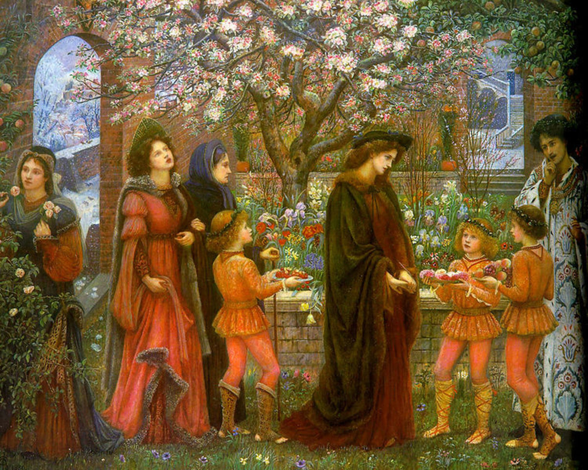 """The Enchanted Garden of Messer Ansaldo"", a painting of one of the tales from the ""Decameron"",painted by Marie Spartali Stillman."