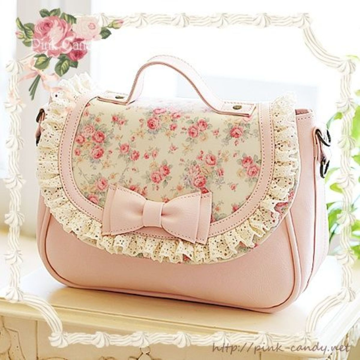 Very nice shabby chic pink floral and lace handbag