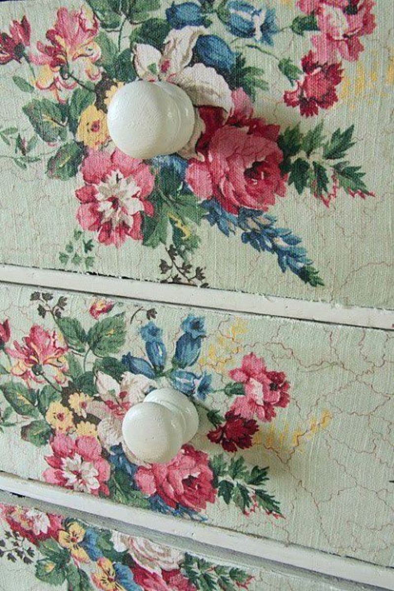 Floral fabric covered drawers