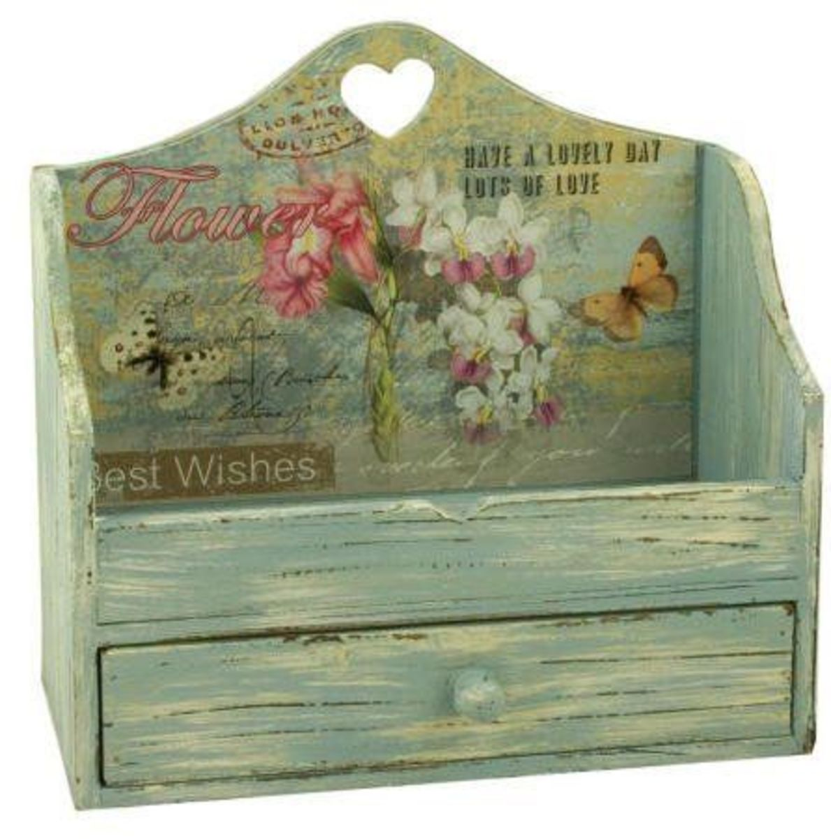 Rustic Shabby Chic Wood Heart Letter Rack