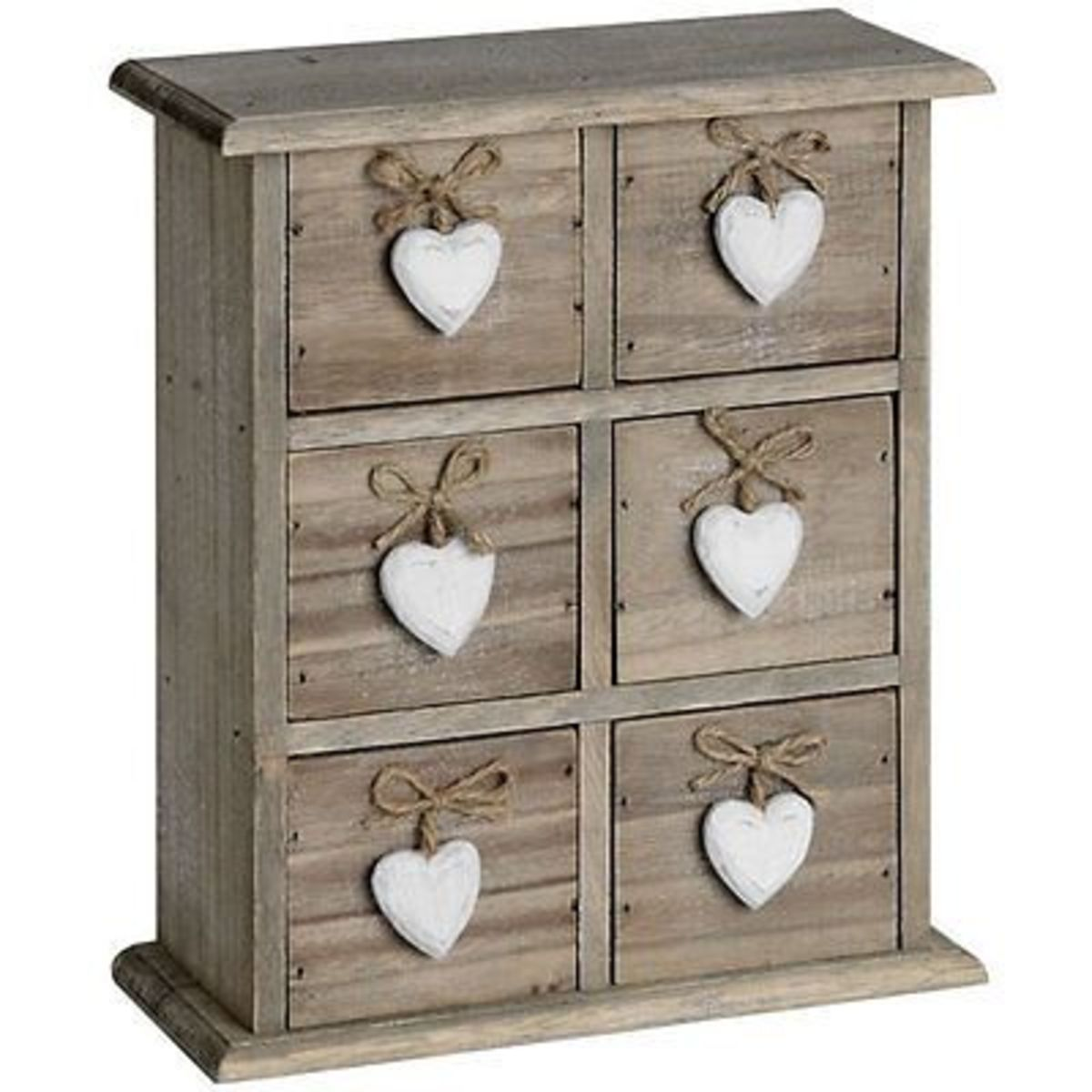 Shabby Chic / Vintage Style 6 Drawer Heart Box