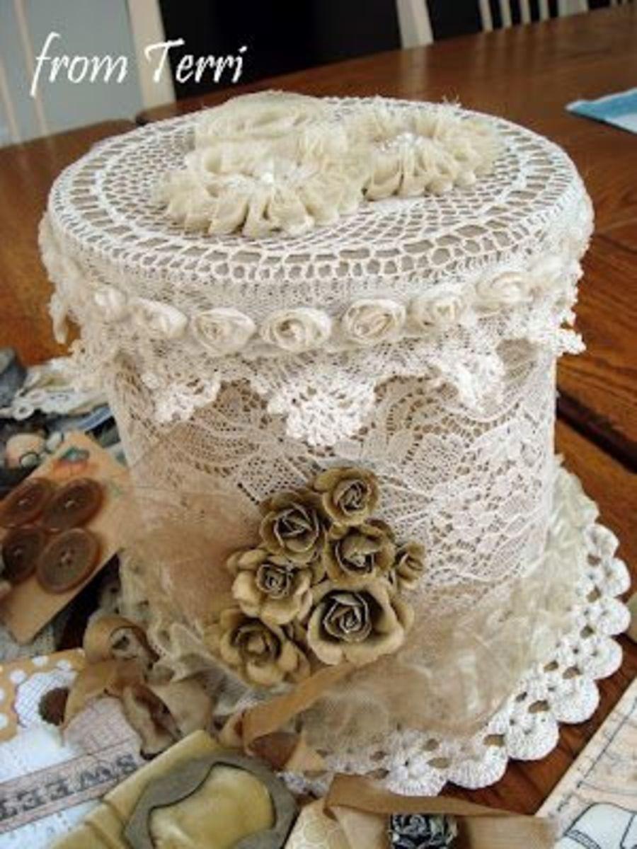 Beautiful lace trinket box