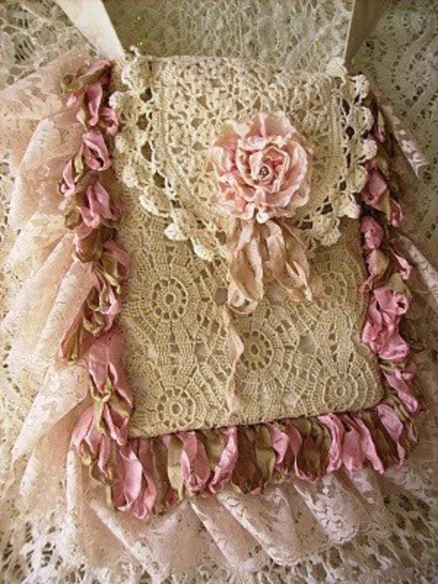 Lace and floral handbag