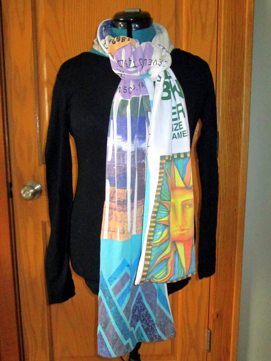 Your favorite old t-shirts can find new life as a fun scarf.