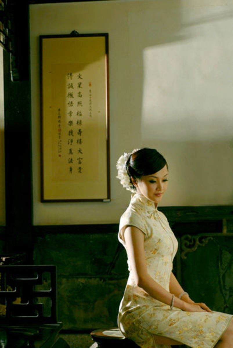 Serene lady in cheongsam