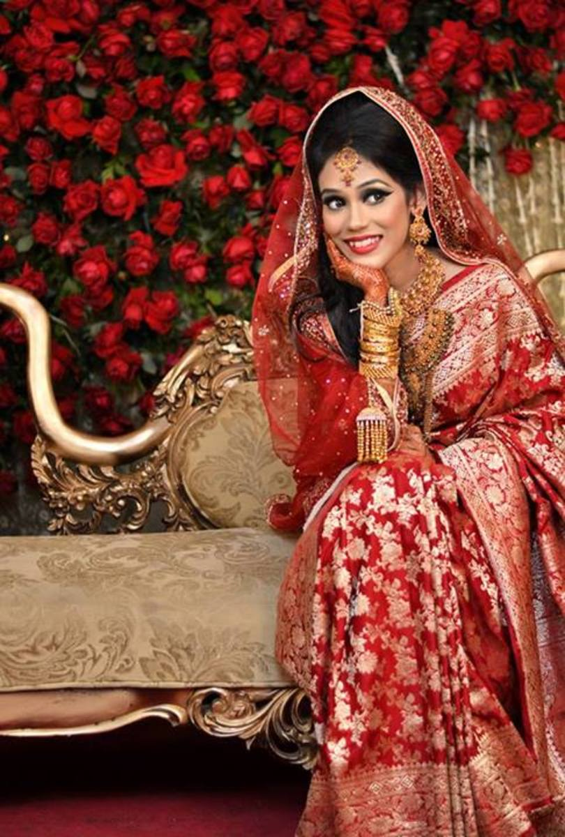 Beautiful Red Traditional Katan Wedding Saree in Bangladesh