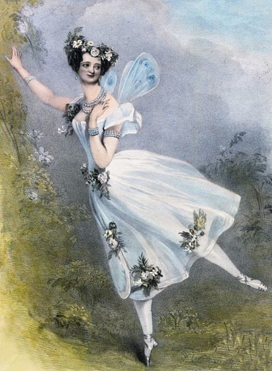 Italian MarieTaglioni (c.1831) the pioneer of pointe work, performing in France.