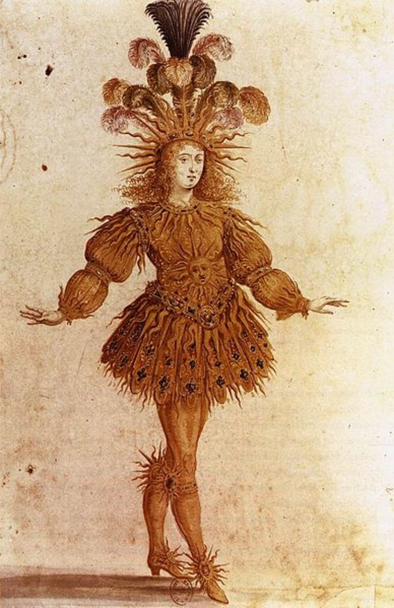 "Louis XIV performing ballet in Lully's ""Ballet de la Nuit"" (1653) in the French court."