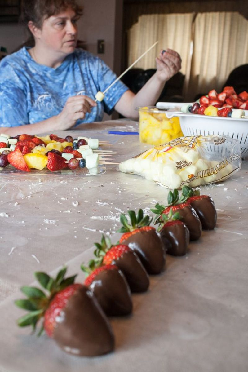 Strawberries drying while we prepped fruit kabobs