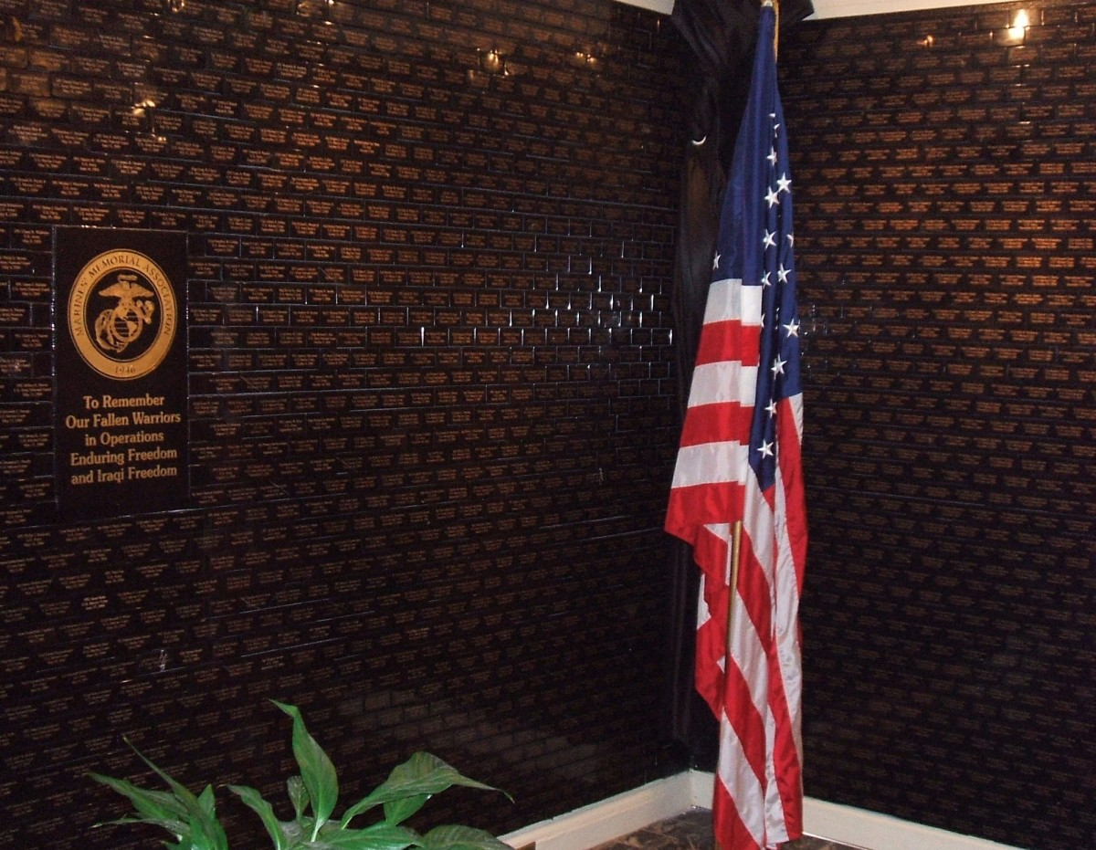 The Tribute Memoral Wall at the Marine's Memorial Club in San Francisco