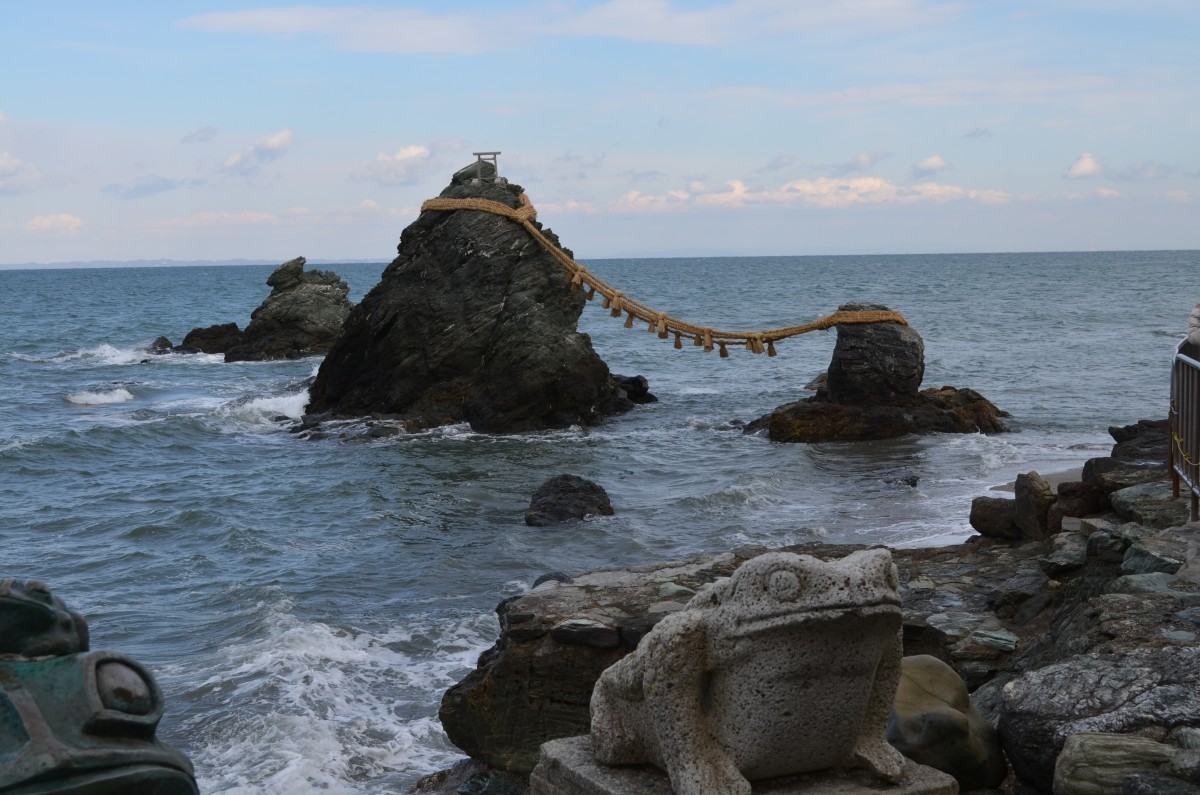 "Meoto Iwa or the ""wedded rocks"" at the Futami, Japan"