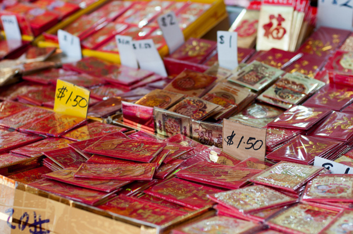 Red envelopes on sale in the street market