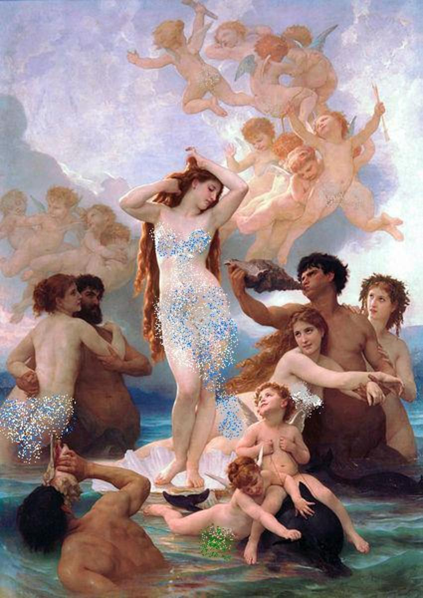 Birth of Venus by William-Adolphe Bouguereau, c. 1879. Venus is the  Roman equivalent of Aphrodite.