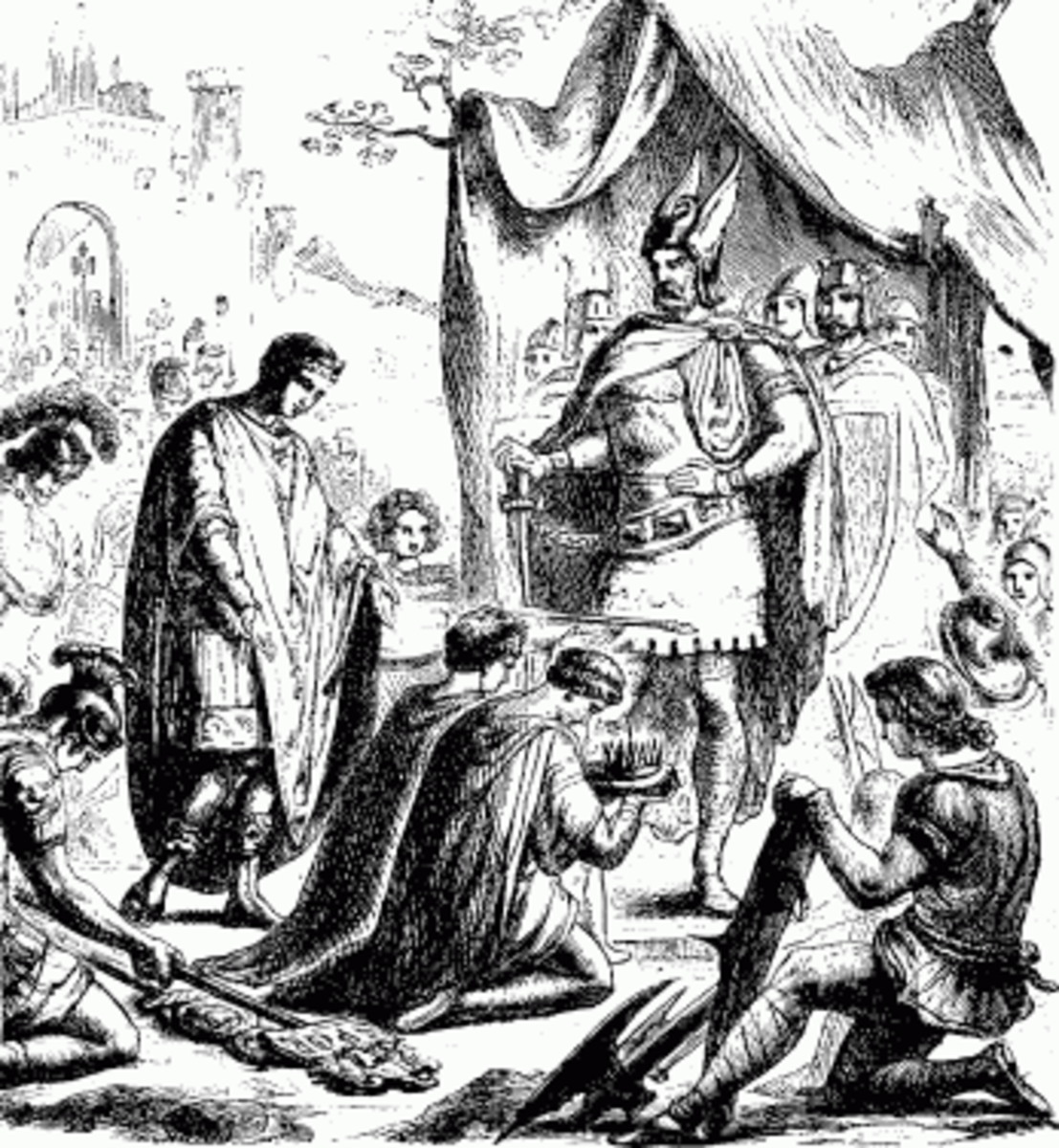 The last Western Emperor Romulus Augustus surrendering the Imperial crown to Odoacer, who promptly proclaimed himself King of Italy.