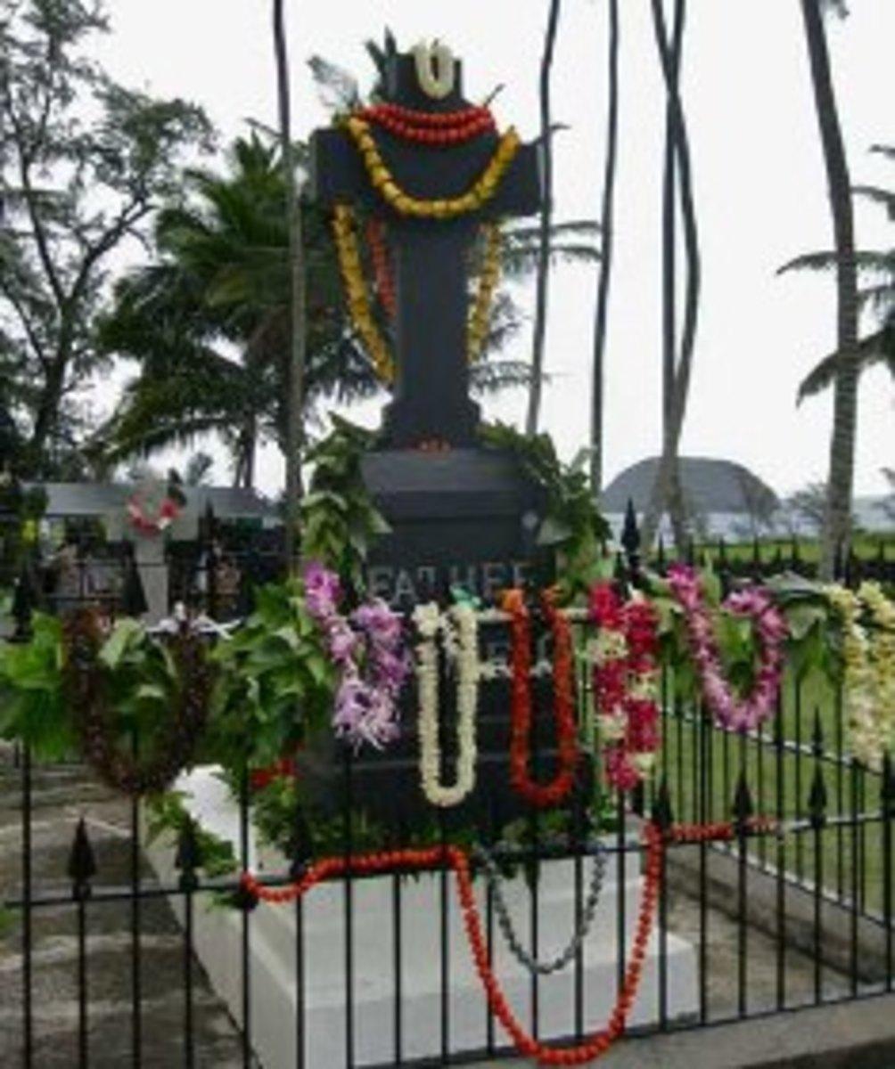 Saint Damienʻs Grave at Kalaupapa