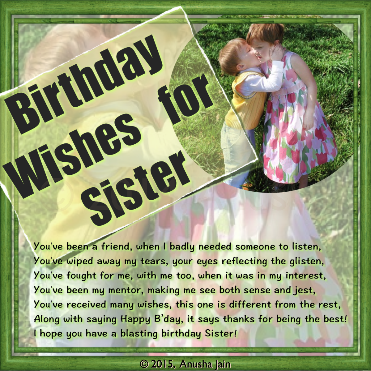 Thanks for being the best dear sister! Happy B'day!!