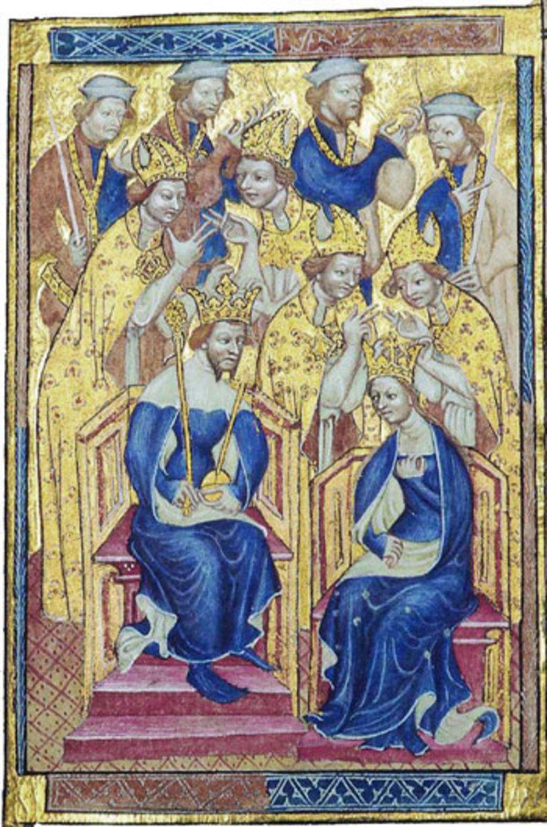 The Liber Regalis, showing Richard and Anne of Bohemia Čeština: Liber Regalis - Richard II. a Anna Lucemburská
