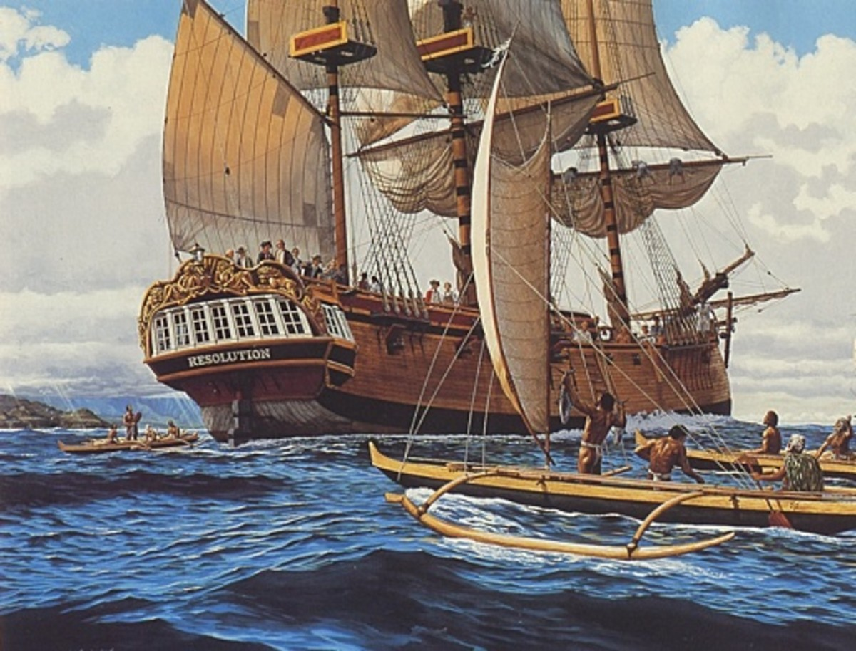 """Painting by Native Hawaiian artist Herb Kane in his 1991 book """"Voyages"""". Depiction of Capt James Cook approaching Hawaiian shores in 1778."""