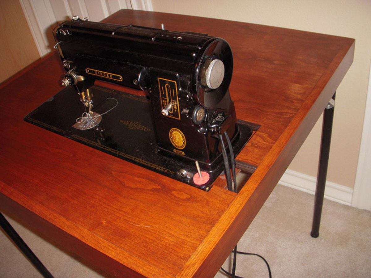 Singer 310 reproduction cherry folding card table