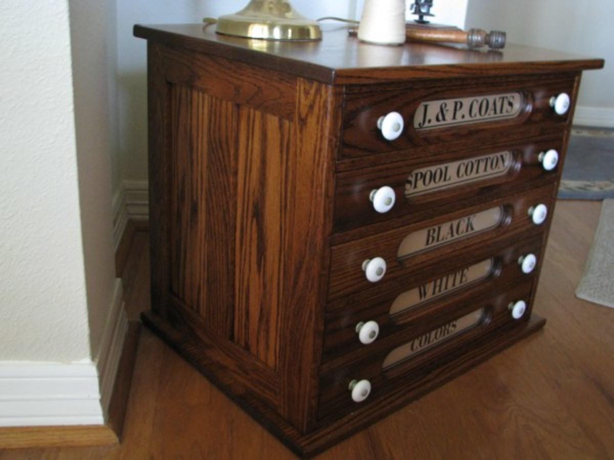 Reproduction J & P Coats spool cabinet