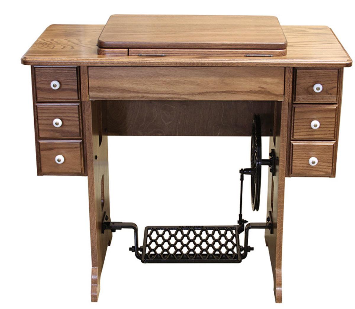 Oak reproduction treadle cabinet