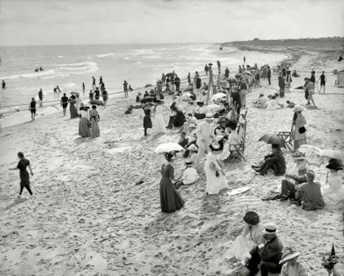 "Circa 1910. ""Bathing at West Palm Beach, Florida"