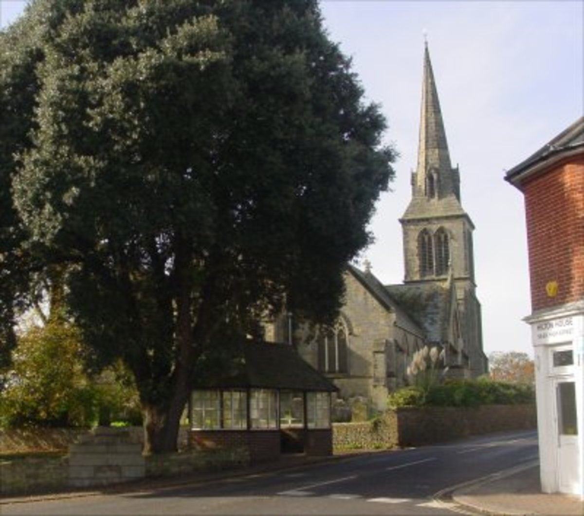 Church of St Lawrence, at the central crossroads of Hurstpierpoint