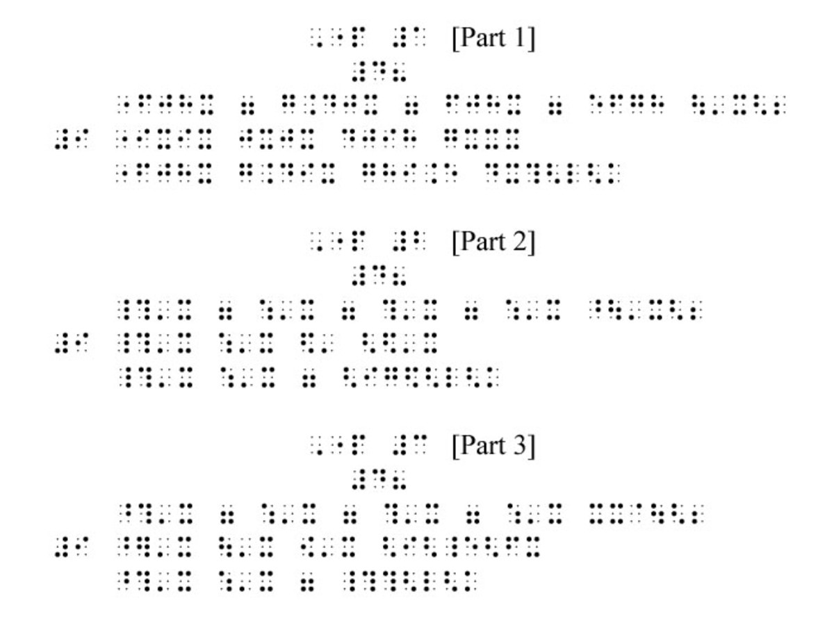 An example of braille sheet music for blind.