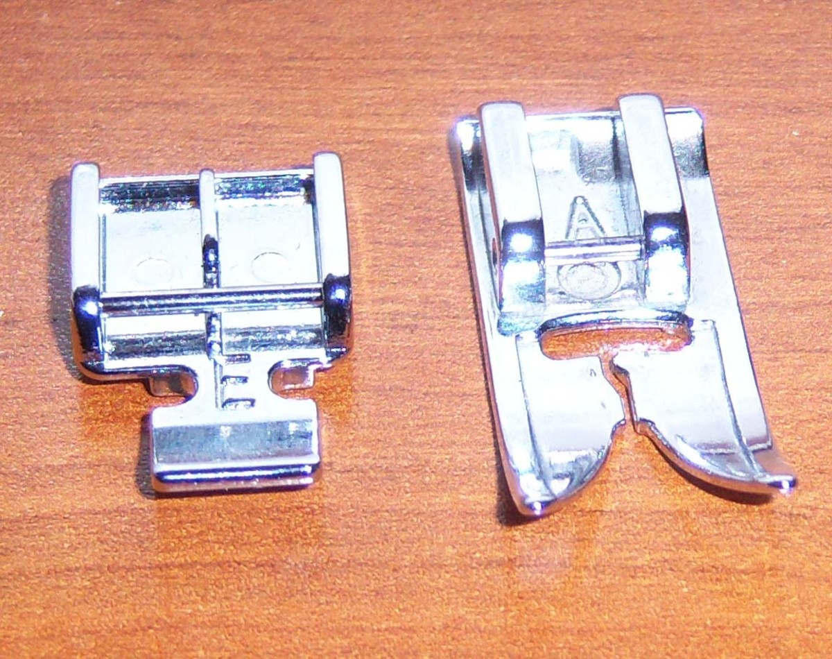 The sewing machine foot on the left is designed specifically for installing zippers, and the one on the right is for regular sewing.