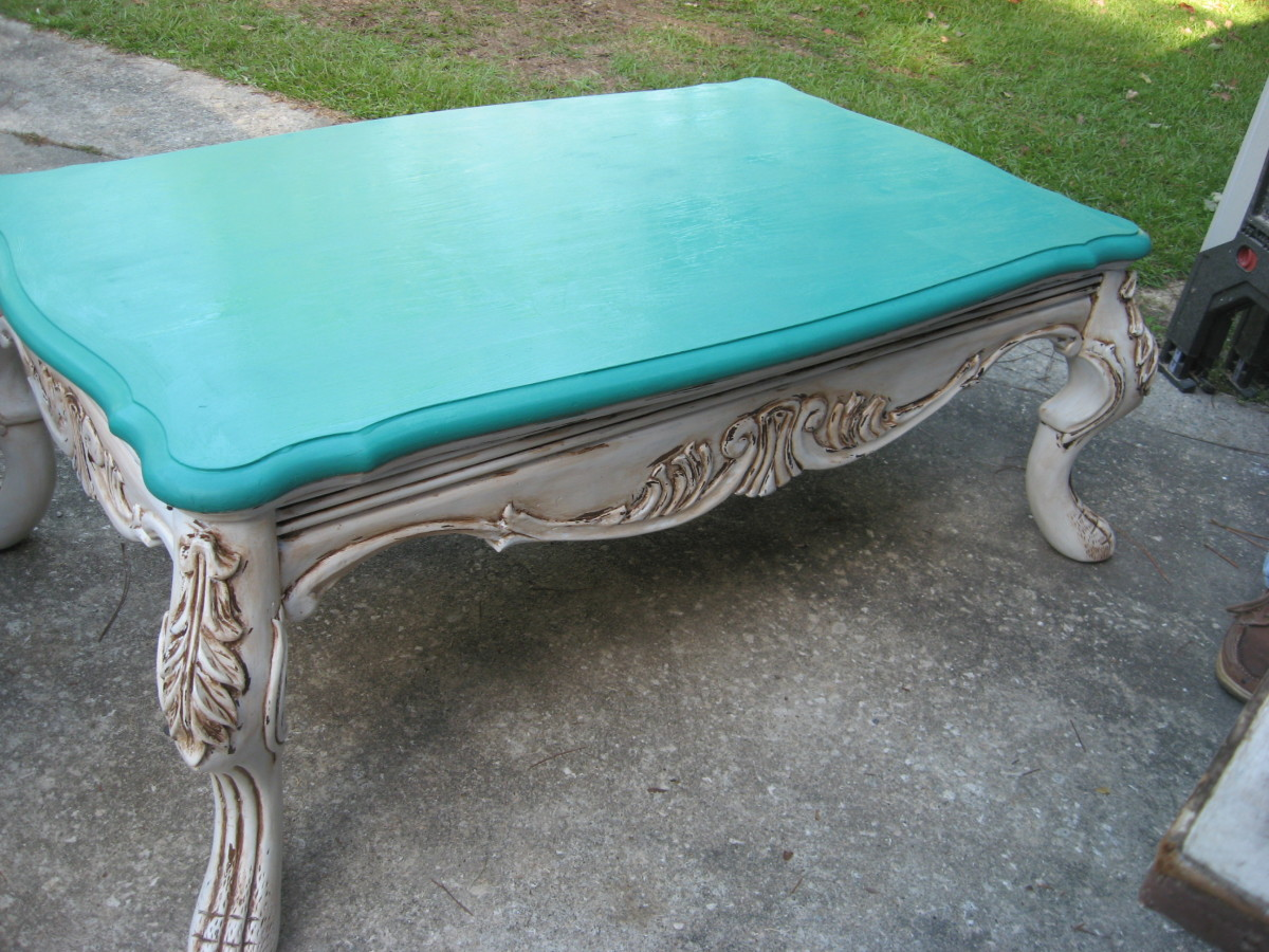 Chalk Paint Coffee Table with antiquing wax