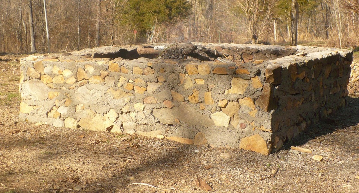 Here is the finished fire pit being used to burn debris.
