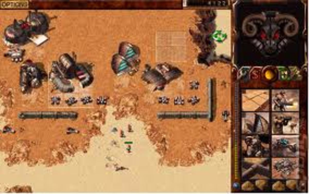 Dune 2000 - A partial build base, in this case playing House Harkonnen, the bad guys!