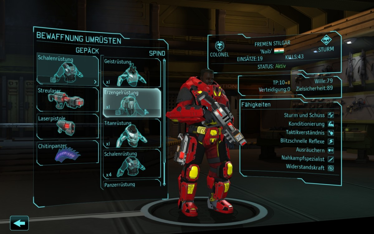 Equipment screen of a Xcom Soldier