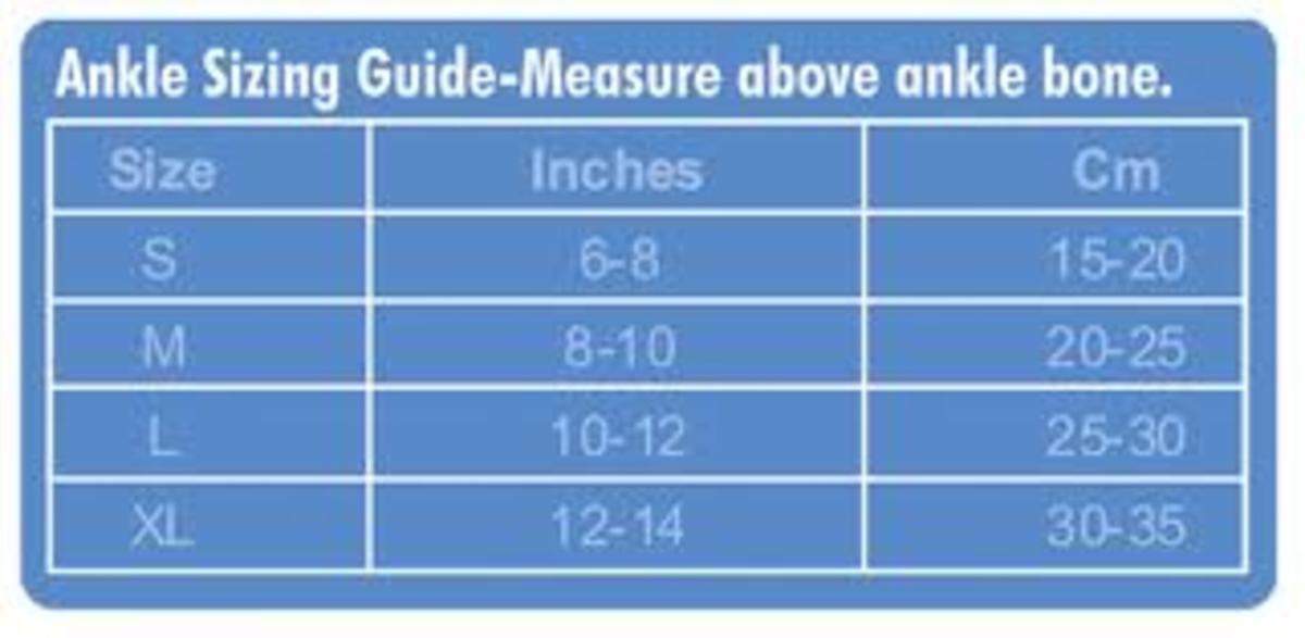 blue and white chart of different ankle sizes from small to extra large