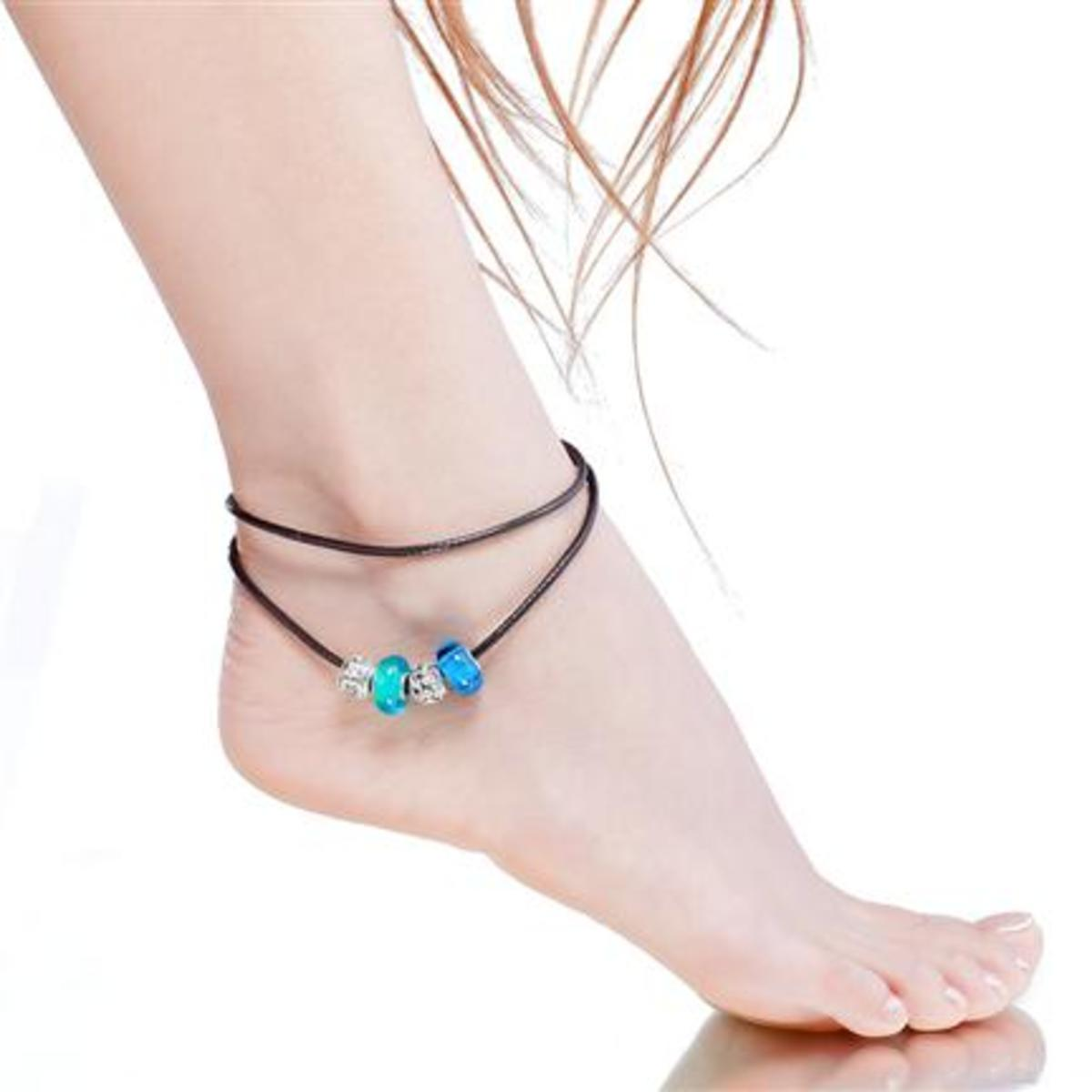 """18"""" Leather Anklet with Euro Beads (46 cm)"""