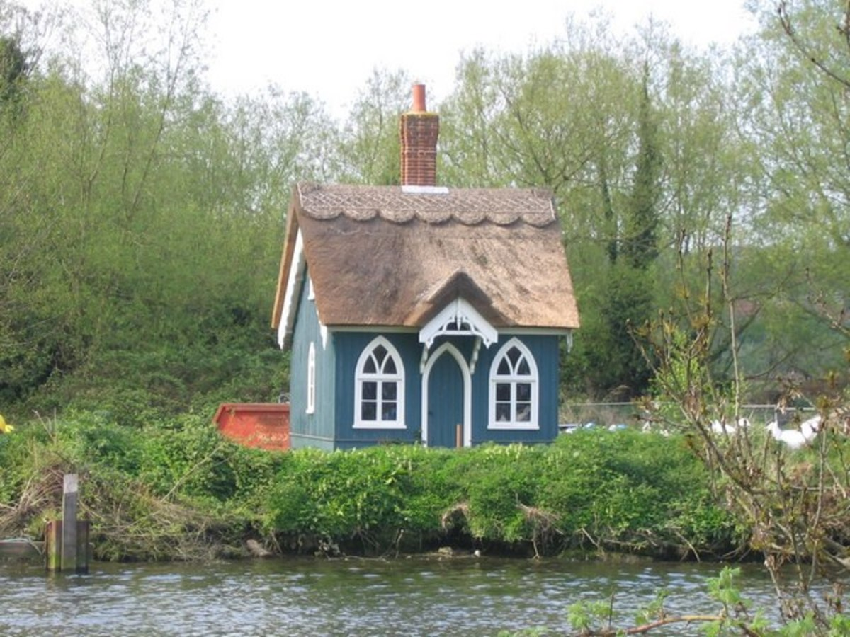 """Yare Cottage, Thorpe. Sitting on the north bank of the Yare, this tiny thatched house was built by James Hobrough in 1861 and occupied until 1998!"""
