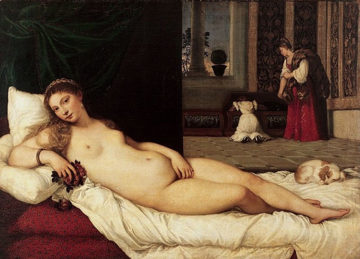 Titian, Venus of Urbino (1538), Florence Uffizi Gallery - Oil on canvas, size: 119.2 cm (46.9 in) x  165.5 cm (65.2 in)