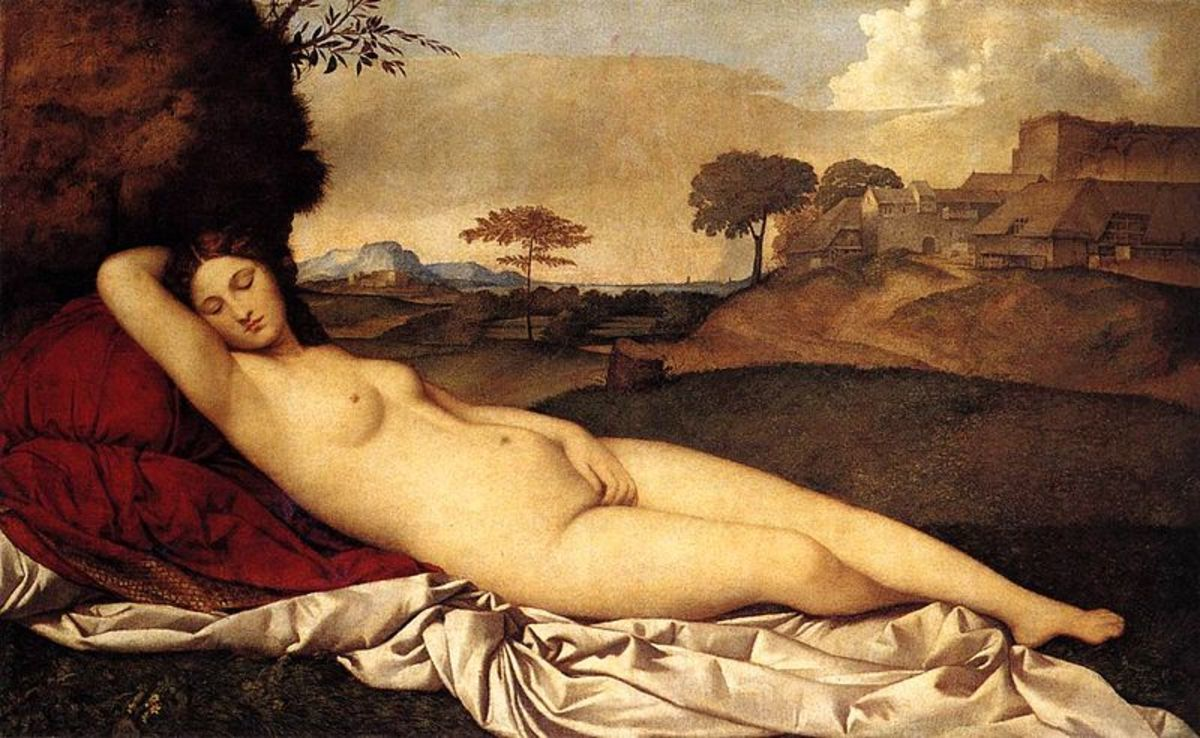 Giorgione, Sleeping Venus (a. 1510), Dresden Gemäldegalerie Alte Meister - The painting was left unfinished by Giorgione and completed by Titian, who added the white cloth and the cushions and perhaps removed a Cupid in the right side
