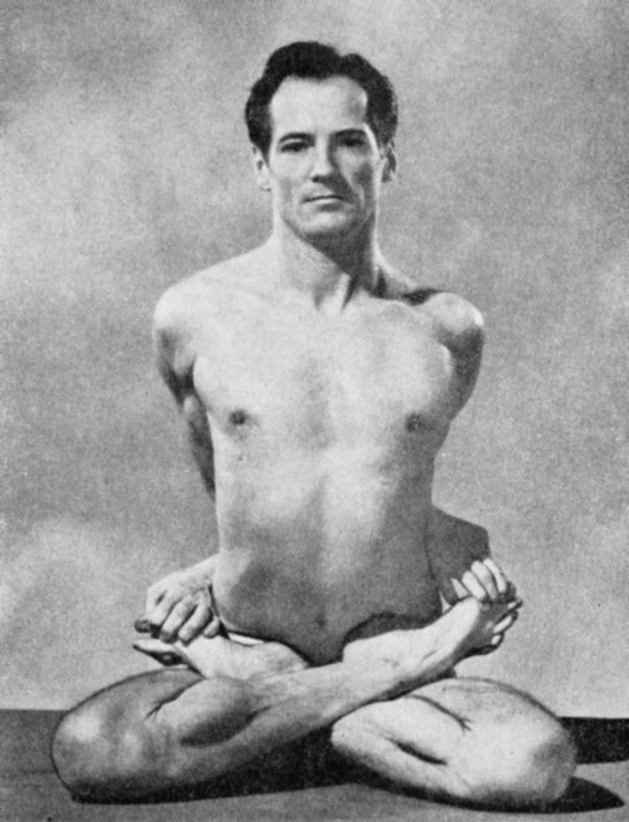 Theos Bernard was an explorer and author, known for his work on yoga and religious studies, particularly in Tibetan Buddhism. Above he does baddha padmasana (bound lotus position, posture or pose). Mentioned below.
